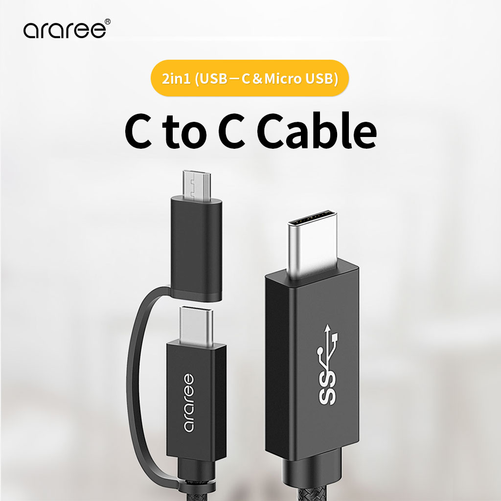 2 in 1(USB−C&Micro USB) C to Cケーブル