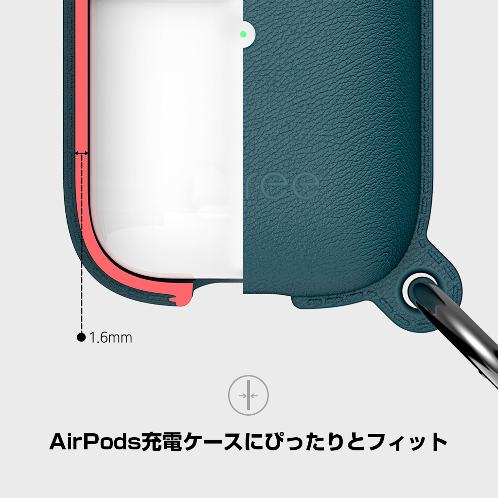 AirPods充電ケースにぴったりとフィット