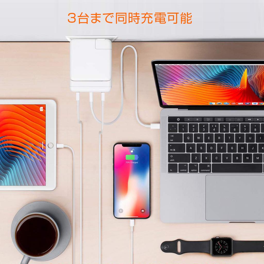 HyperDrive(ハイパードライブ) Apple 61W USB-C電源アダプタ用USB-C Hub台まで同時充電可能(MacBook Proまで完全対応)