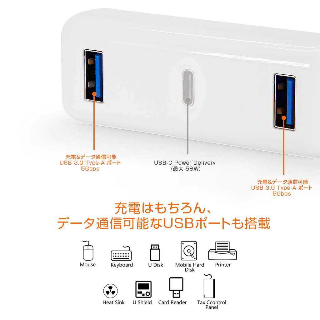 HyperDrive(ハイパードライブ) Apple 61W USB-C電源アダプタ用USB-C Hub充電はもちろん、データ通信可能なUSBポートも搭載