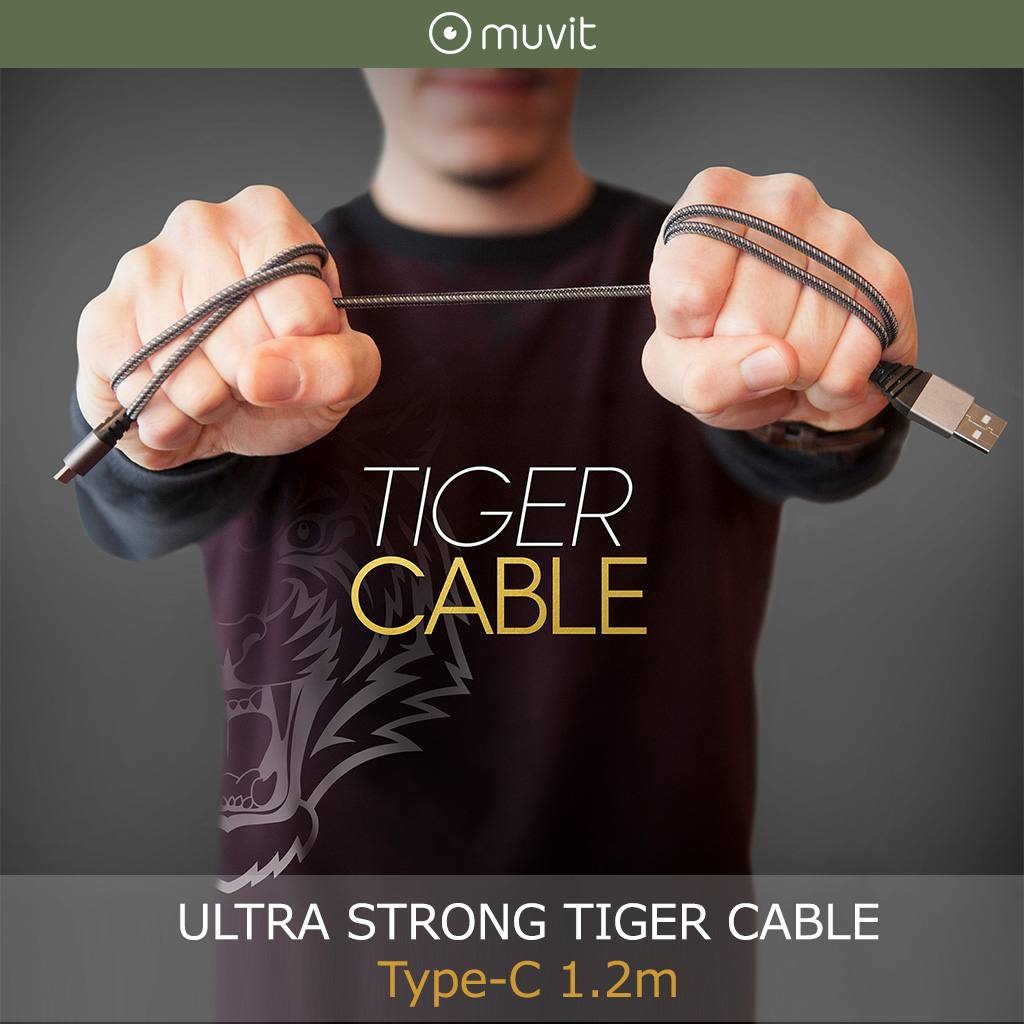 USB Type-C ケーブル muvit ULTRA STRONG TIGER CABLE Type-C 1.2m