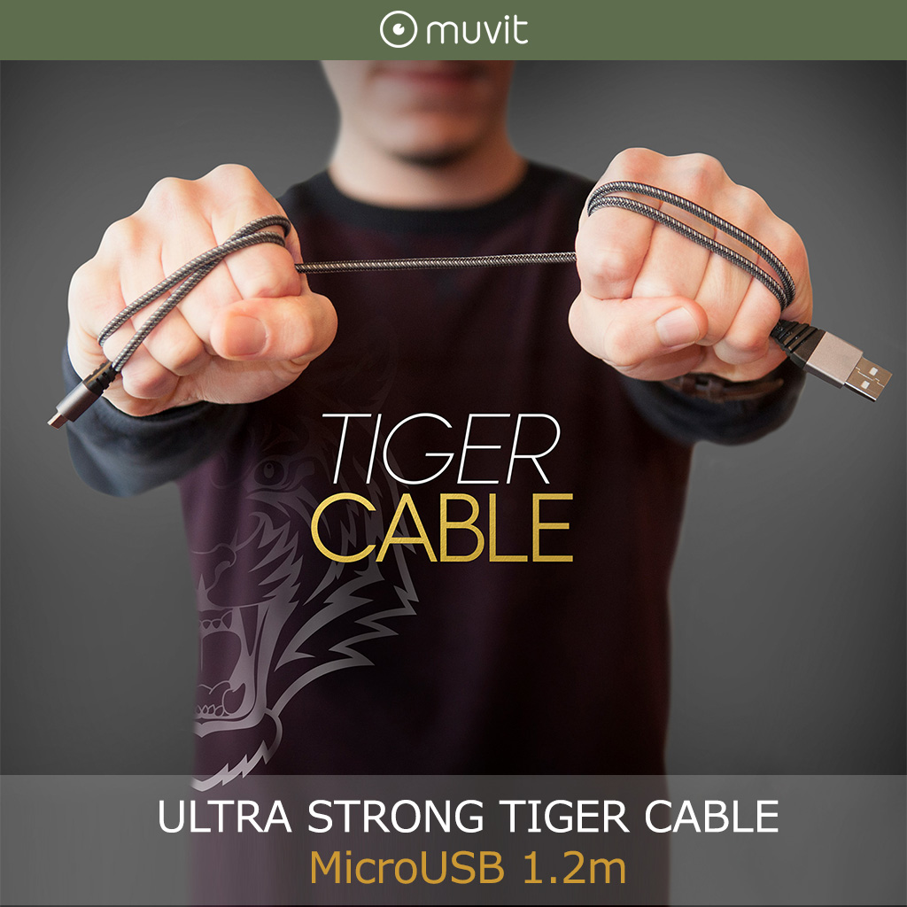 マイクロUSB ケーブル muvit ULTRA STRONG TIGER CABLE MicroUSB 1.2m