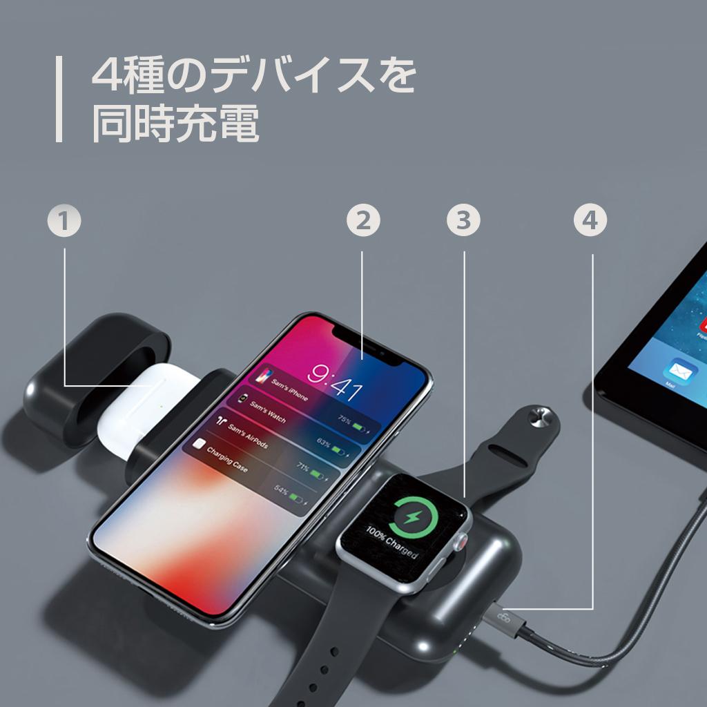 4種のデバイスを同時充電