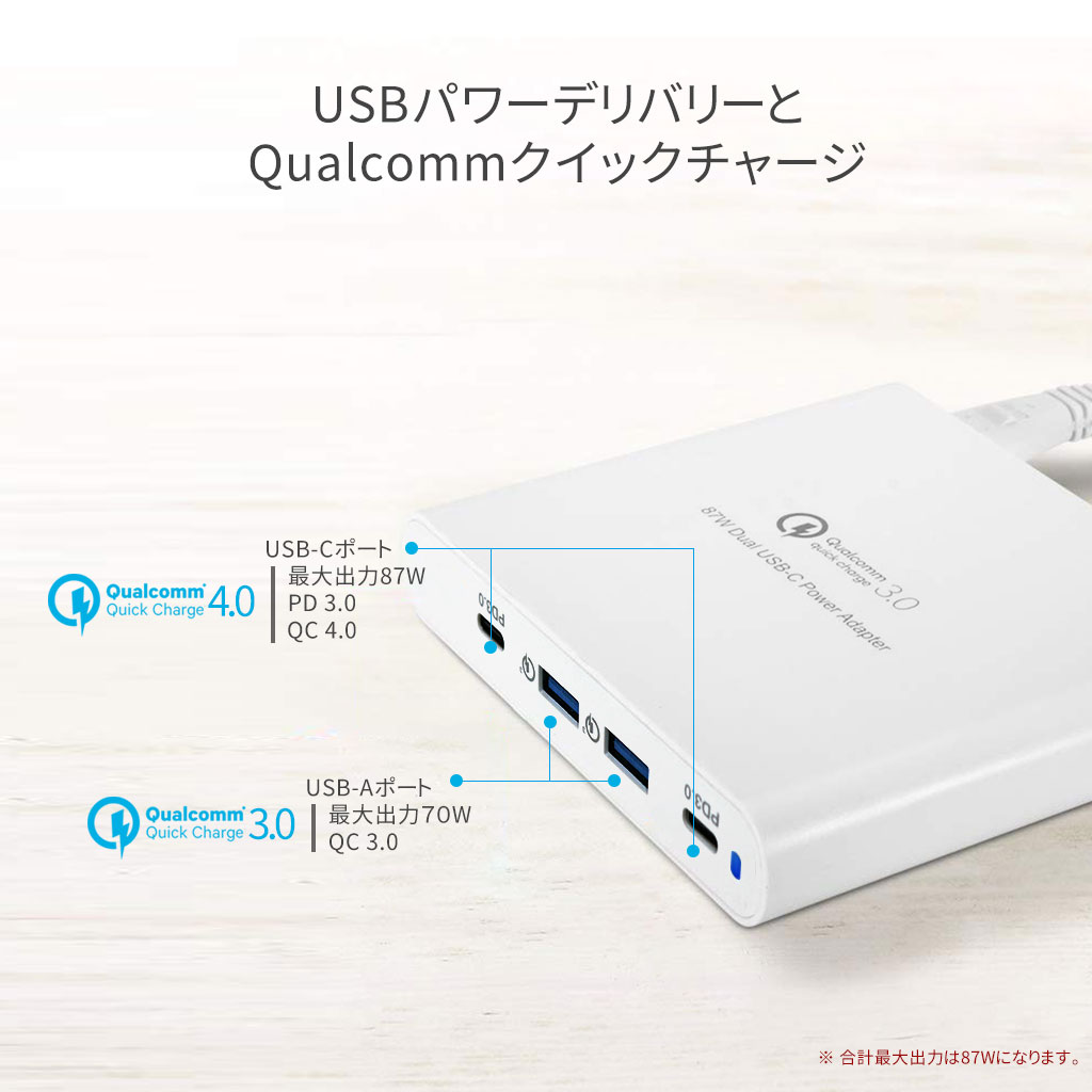 USBパワーデリバリーとQualcommクイックチャージ
