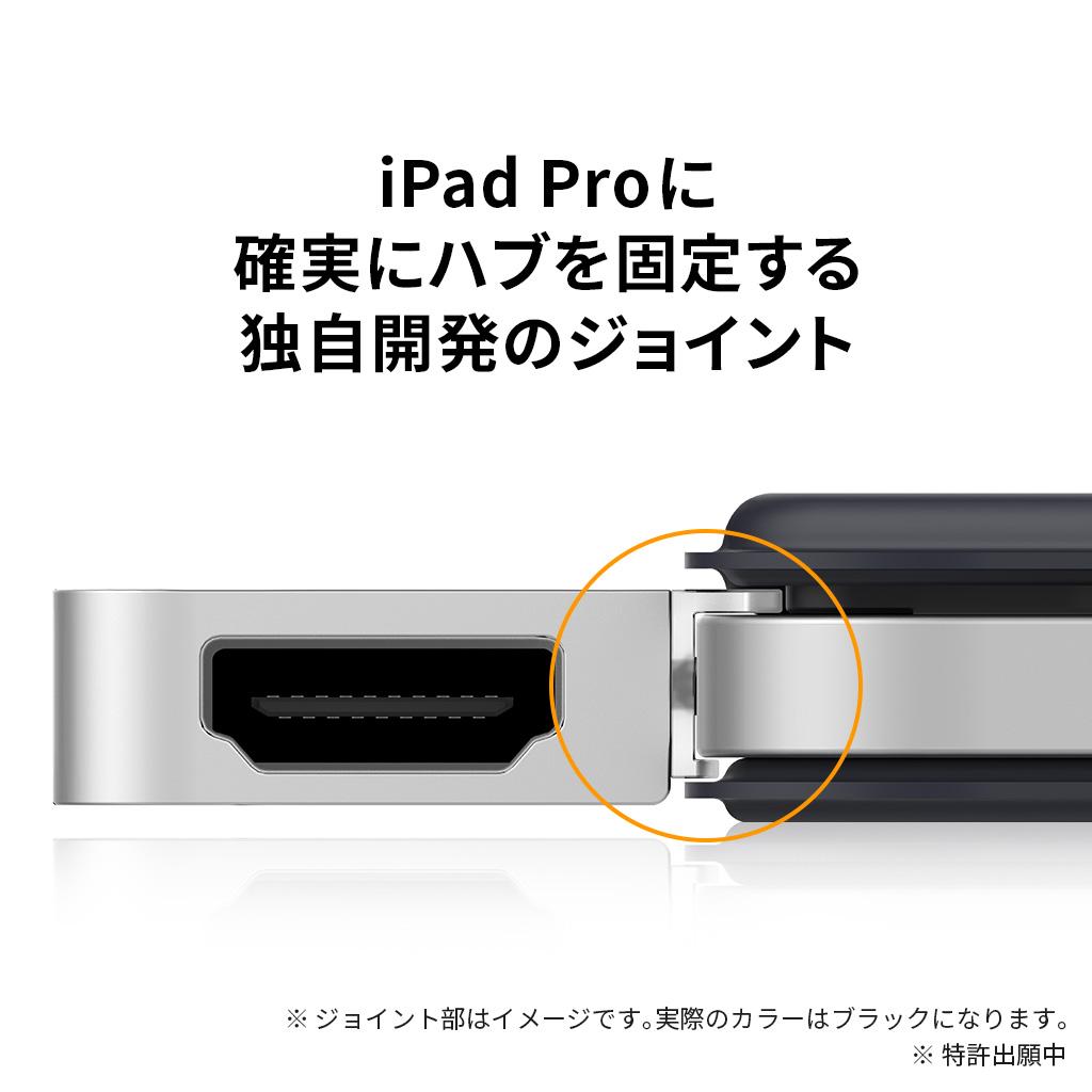 iPad Proに確実にハブを固定する独自開発のジョイント