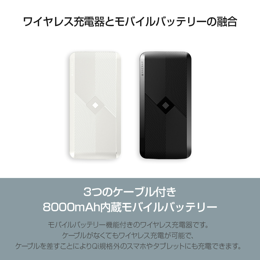 4in1マルチ充電ケーブル内蔵型 ワイヤレスモバイルバッテリー