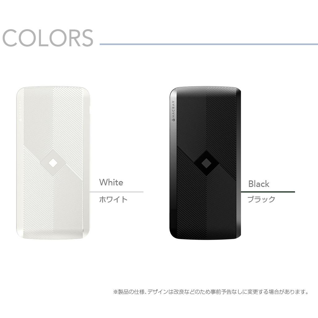 4in1マルチ充電ケーブル内蔵型 ワイヤレスモバイルバッテリー ホワイト