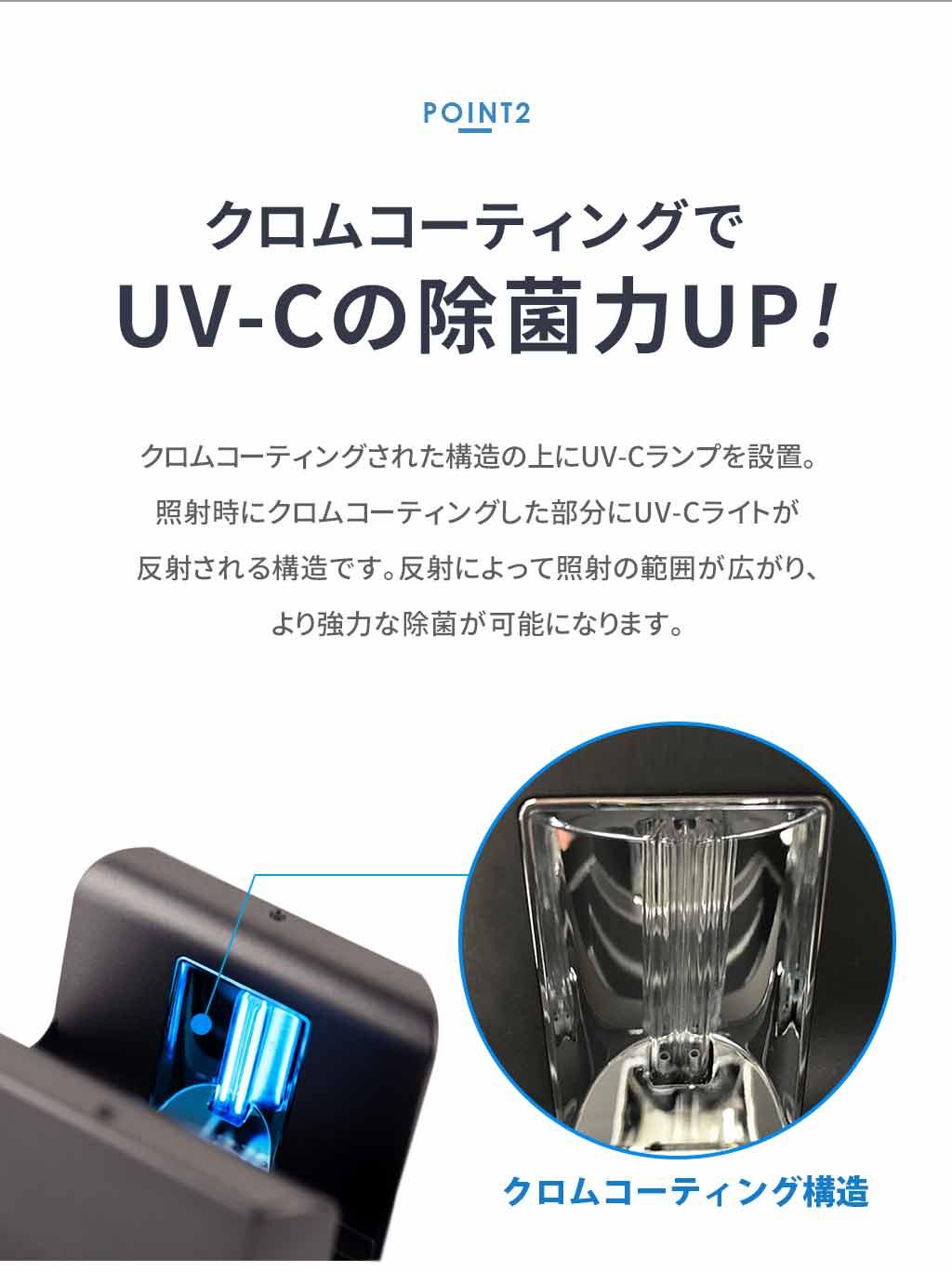 LINK(リンク)UVオゾンスマホ除菌器はクロムコーティングで除菌力アップ