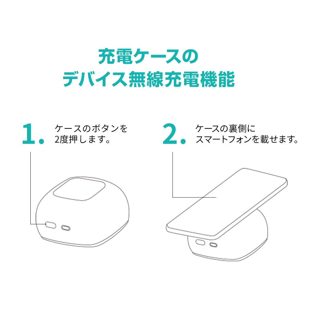 【充電ケースのデバイス無線充電機能の使い方】