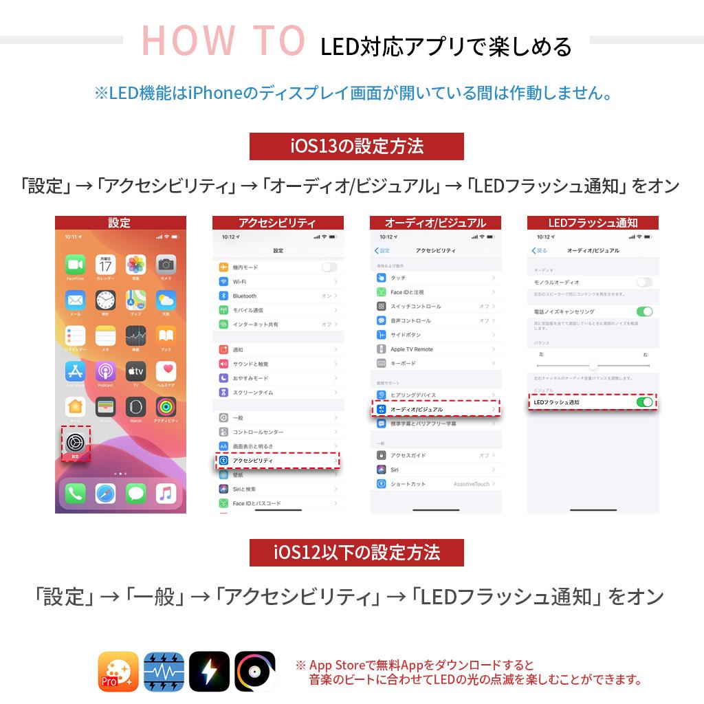 iPhoneのLED設定方法