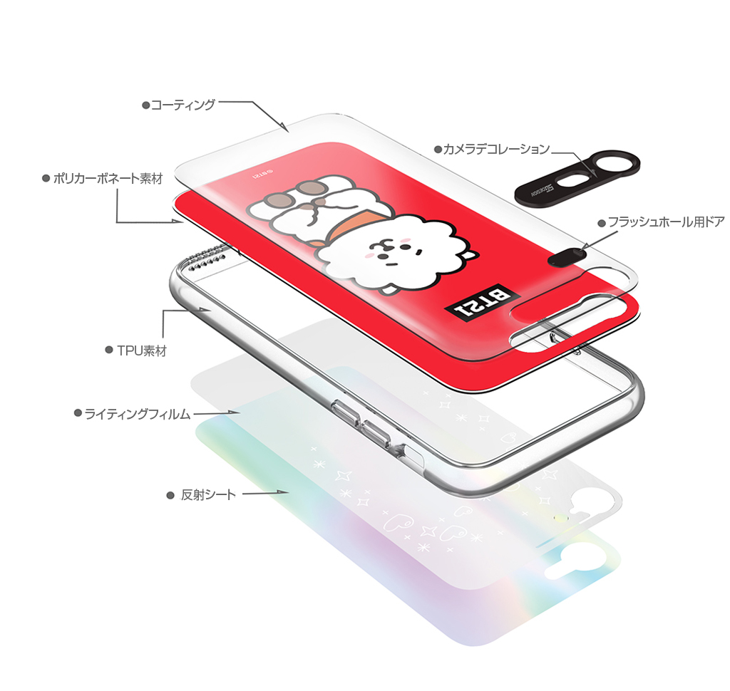 iPhone X BT21 GRAPHIC LIGHT UP CASE VAN
